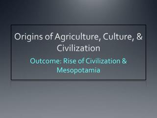 Origins of Agriculture, Culture, & Civilization
