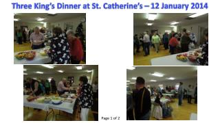 Three King's Dinner at St. Catherine's – 12 January 2014