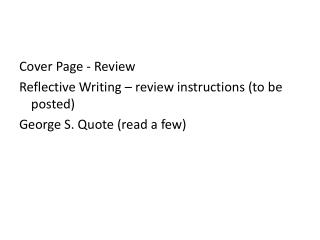 Cover Page - Review Reflective Writing – review instructions (to be posted)