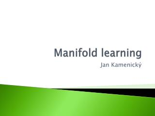 Manifold learning