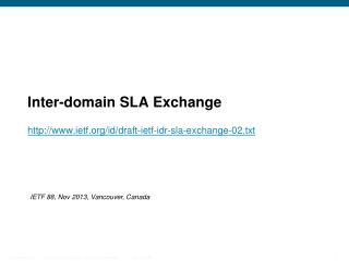 Inter-domain SLA Exchange