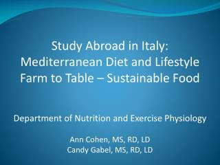 Study Abroad in Italy: Mediterranean Diet and  Lifestyle Farm to Table – Sustainable Food