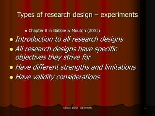 Types of research design   experiments