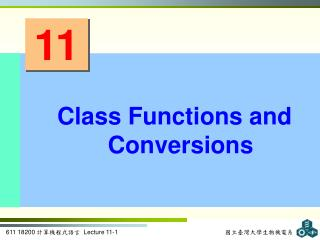 Class Functions and Conversions