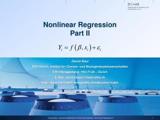 Nonlinear Regression Part II