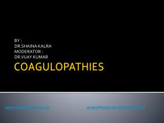 COAGULOPATHIES