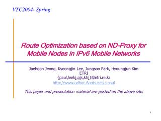 Route Optimization based on ND-Proxy for Mobile Nodes in IPv6 Mobile Networks