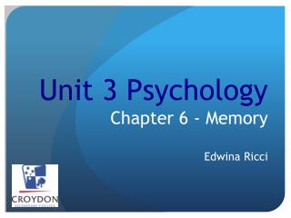 Unit 3 Psychology Chapter 6 - Memory  Edwina Ricci
