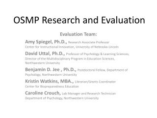 OSMP Research and Evaluation