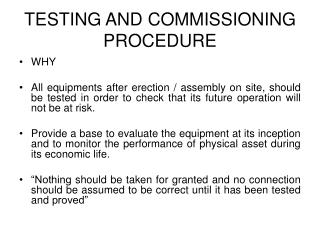 TESTING AND COMMISSIONING PROCEDURE