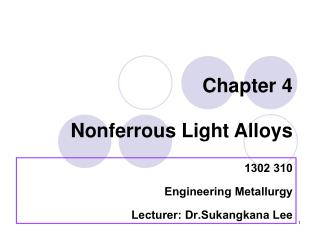 Chapter 4 Nonferrous Light Alloys