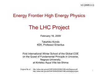 Energy Frontier High Energy Physics The LHC Project