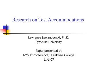 Research on Test Accommodations