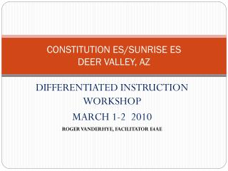 CONSTITUTION ES/SUNRISE ES DEER VALLEY, AZ