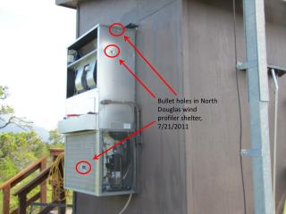Bullet holes in North Douglas wind profiler shelter, 7/21/2011