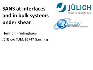 SANS  at interfaces and  in  bulk systems under shear Henrich Frielinghaus