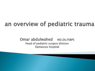 an overview of pediatric trauma