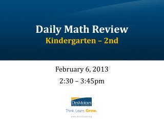 Daily Math Review Kindergarten – 2nd