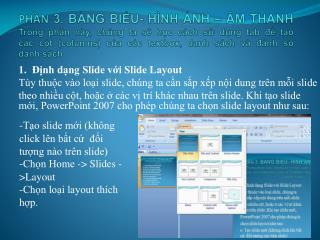 1. Định dạng Slide với Slide Layout
