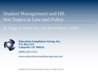 Student Management and HR:   Hot Topics in Law and Policy