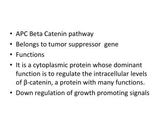 APC Beta  Catenin  pathway Belongs to tumor suppressor  gene Functions