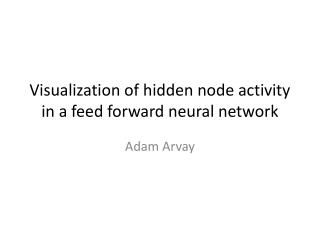 Visualization of hidden node activity in a feed forward neural network