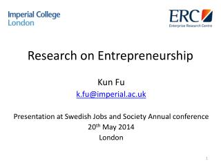 Research  o n Entrepreneurship