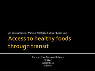 Access to healthy foods through transit