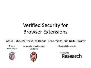 Verified Security for  Browser Extensions