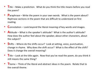 T itle – Make a prediction.  What do you think the title means before you read the poem?