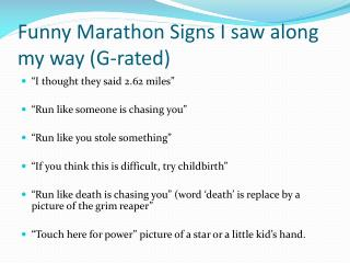 Funny Marathon Signs I saw along my way (G-rated)