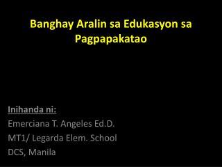 Banghay Aralin sa Edukasyon sa Pagpapakatao