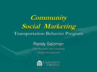 Community Social  Marketing Transportation Behavior Program