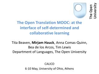CALICO  6-10 May, University of Ohio, Athens