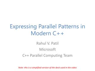 Expressing Parallel Patterns in Modern C++
