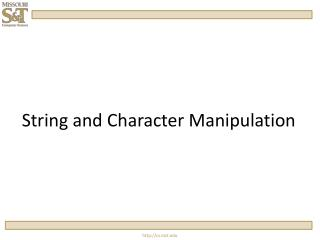 String and Character Manipulation