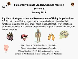 Elementary Science Leaders/Coaches Meeting  Session 3 January 2012