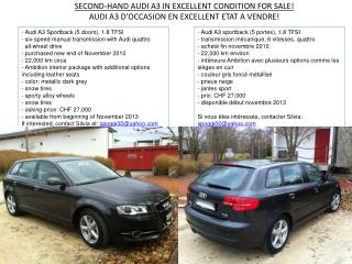 SECOND-HAND AUDI A3 IN EXCELLENT CONDITION FOR SALE!