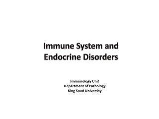 Immune System and Endocrine Disorders