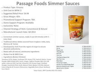 Passage Foods Simmer Sauces