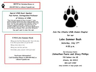 Join the Atlanta UNM Alumni Chapter for our  Lobo Summer Bash Saturday, July  17 th 4:00  p.m.