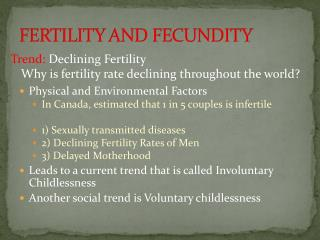 FERTILITY AND FECUNDITY