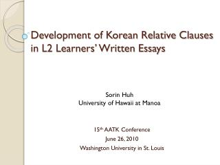 Development of Korean Relative Clauses  in L2 Learners' Written Essays