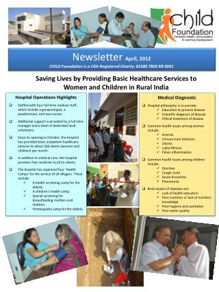 Saving Lives by Providing Basic Healthcare Services to Women and Children in Rural India