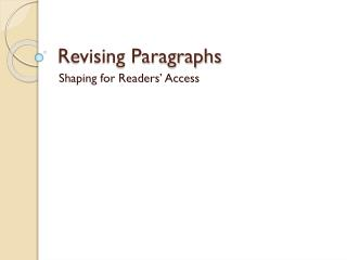 Revising Paragraphs