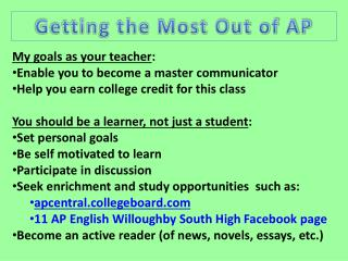 My goals as your teacher : Enable you to become a master communicator