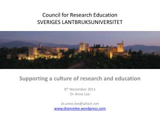 Council for Research Education SVERIGES  LANTBRUKSUNIVERSITET