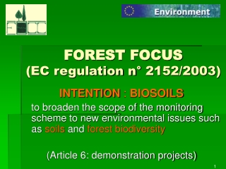 FOREST FOCUS (EC regulation n° 2152/2003)