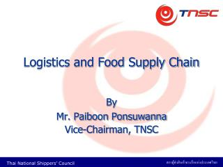 Logistics and Food Supply Chain
