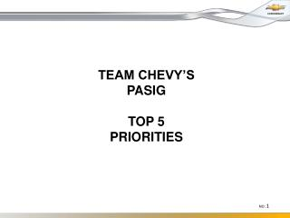 TEAM  CHEVY'S PASIG TOP 5 PRIORITIES
